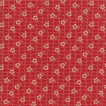Moda Fabrics ~ Farmhouse Reds ~ Floral Grid Red and Ivory