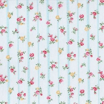 Lecien Fabric ~ Flower Fields ~ Floral Stripe Blue