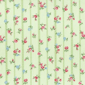 Lecien Fabric ~ Flower Fields ~ Floral Stripe Green