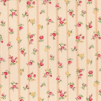 Lecien Fabric ~ Flower Fields ~ Floral Stripe Peach