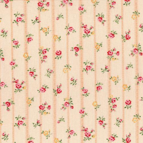 Lecien Fabric ~ Flower Fields ~ Floral Stripe Peach