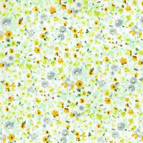 Lecien Fabric ~ Flower Fields ~ Watercolour Floral Green