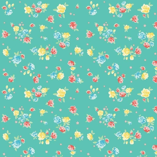 Penny Rose Fabrics ~ Bunnies & Blossoms ~ Blossoms Teal