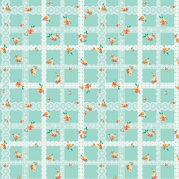 Penny Rose Fabrics ~ Bunnies & Blossoms ~ Lace Teal