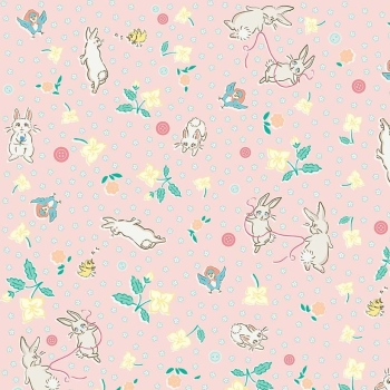 Penny Rose Fabrics ~ Bunnies & Blossoms ~ Main Pink