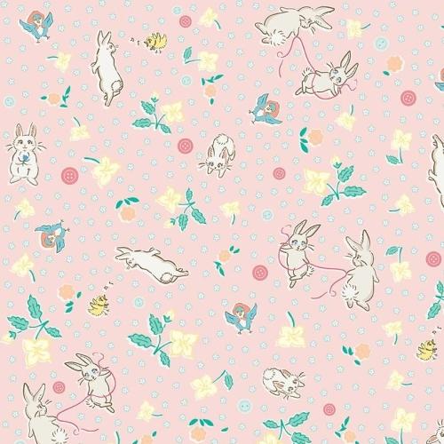 Penny Rose Fabrics ~ Bunnies & Blossoms ~ Main Pink