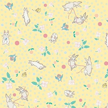 Penny Rose Fabrics ~ Bunnies & Blossoms ~ Main Yellow