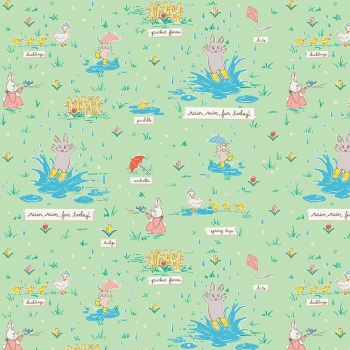 Penny Rose Fabrics ~ Bunnies & Blossoms ~ Puddles Mint