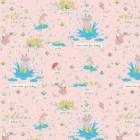 Penny Rose Fabrics ~ Bunnies & Blossoms ~ Puddles Pink