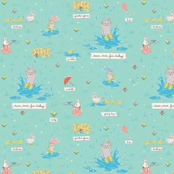 Penny Rose Fabrics ~ Bunnies & Blossoms ~ Puddles Teal