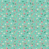 Penny Rose Fabrics ~ Bunnies & Blossoms ~ Strawberries Teal
