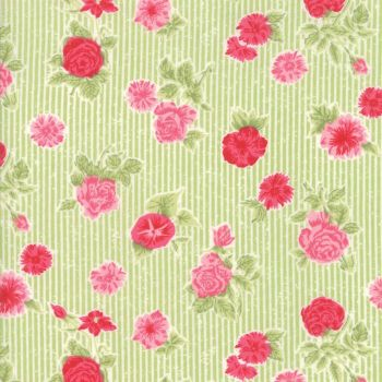 Moda Fabric ~ Cottontail Cottage ~ Cottage Floral Meadow Green