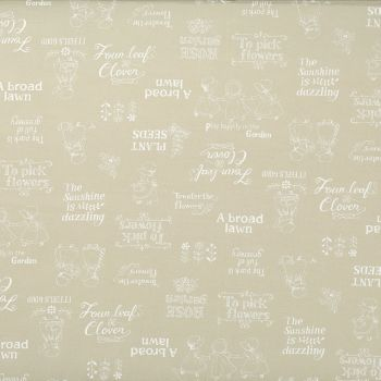 Lecien Fabric ~ Little Heroines ~ Garden Text Cream
