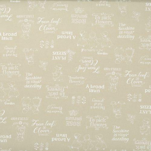 Lecien Fabric ~ Little Heroines ~ Garden Text Cream
