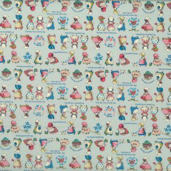 Lecien Fabric ~ Little Heroines ~ Sunbonnet Sue Blue