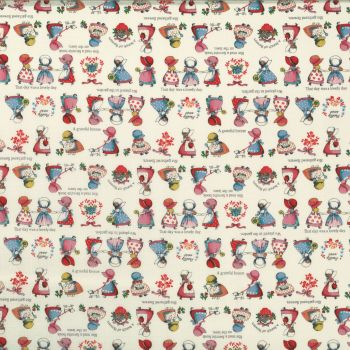 Lecien Fabric ~ Little Heroines ~ Sunbonnet Sue Cream