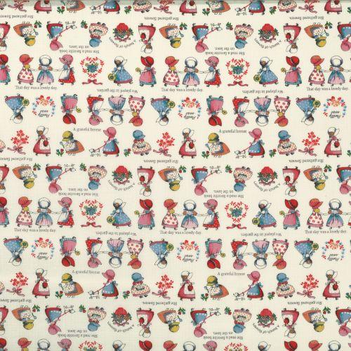 Lecien Fabric ~ Little Heroines ~ Sunbonnet Sue Cream