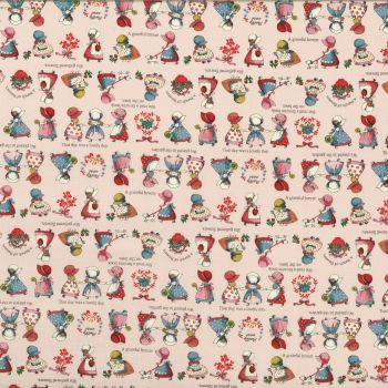 Lecien Fabric ~ Little Heroines ~ Sunbonnet Sue Pink