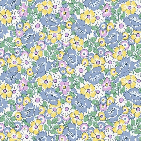 Henry Glass & Co ~ Nana Mae ~ Packed Floral Blue