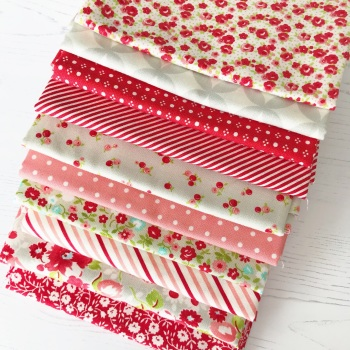 Sarah Selects ~ Fat Quarter Bundle ~ Bonnie and Camille Favourites in Red, Coral & Grey
