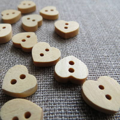 Heart Wooden Buttons
