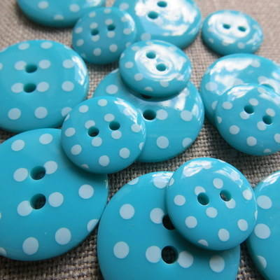 Turquoise Polka Dot Buttons