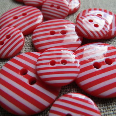 Red Stripey Buttons