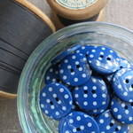 Polka Dot Buttons ~ Navy