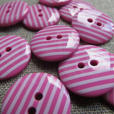 Fuchsia Stripey Buttons