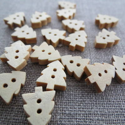 Christmas Tree Wooden Buttons