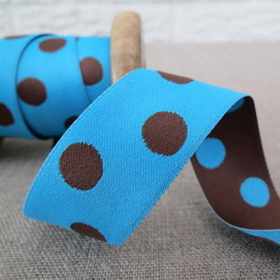May Arts Ribbon ~ Reversable Dot Satin ~  Turquoise and Chocolate Brown