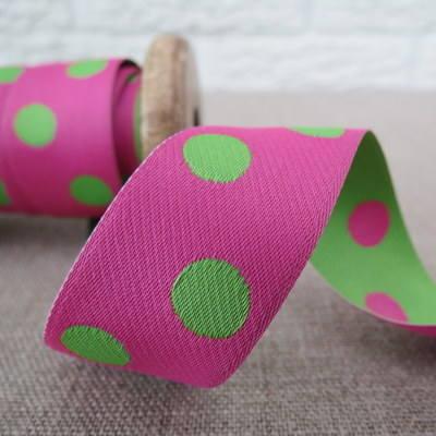 May Arts Ribbon ~ Reversable Dot Satin ~ Fuchsia and Green