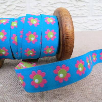 Farbenmix Woven Ribbon ~ Woodpecker Flower on Blue