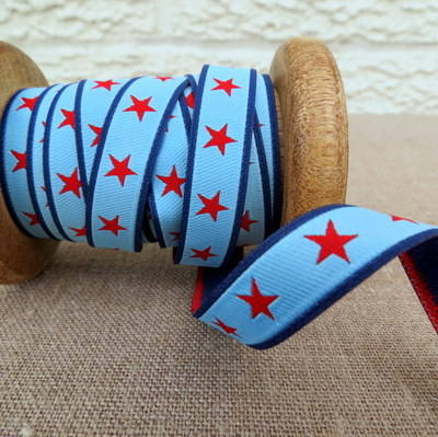 Farbenmix Woven Ribbon ~ Red Stars on Blue and Navy