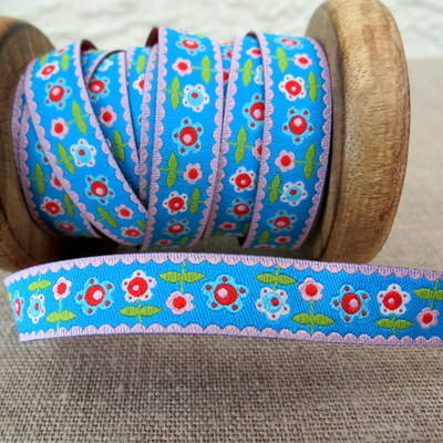 Farbenmix Woven Ribbon ~ Flowers on Blue