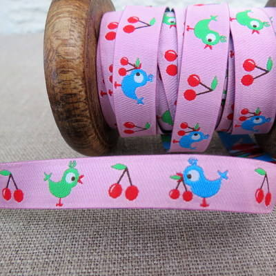 Farbenmix Woven Ribbon ~ Birdies and Cherries