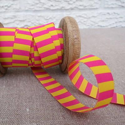 Farbenmix Woven Ribbon ~  Stripes in Fuchsia and Yellow