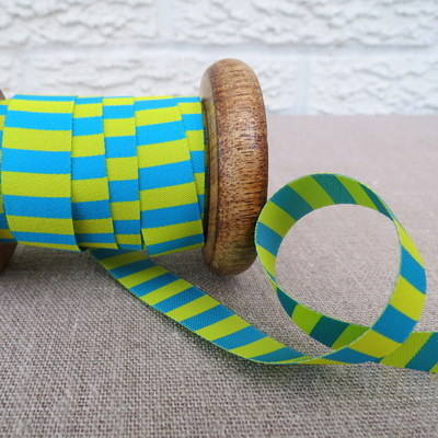Farbenmix Woven Ribbon ~  Stripes in Turquoise and Yellow