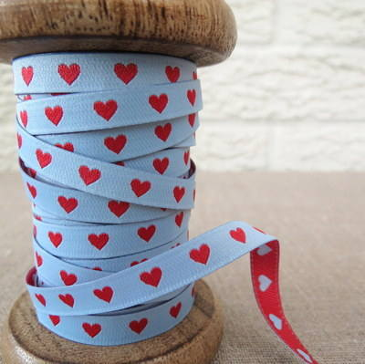 Farbenmix Woven Ribbon ~ Hearts in Red and Blue