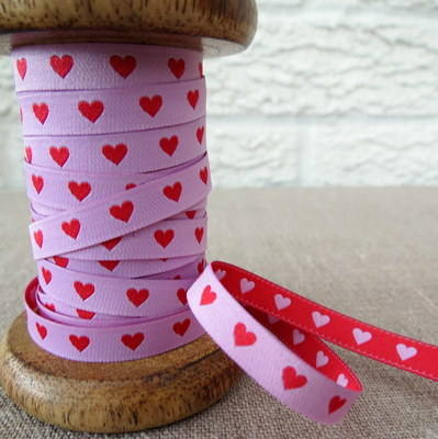 Farbenmix Woven Ribbon ~ Hearts in Red and Pink
