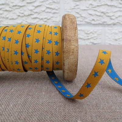 Farbenmix Woven Ribbon ~ Stars in Blue and Yellow