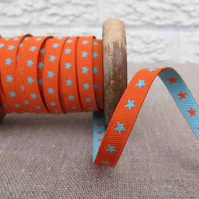 Farbenmix Woven Ribbon ~ Stars in Orange and Turquoise