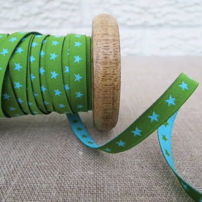 Farbenmix Woven Ribbon ~ Stars in Green and Turquoise