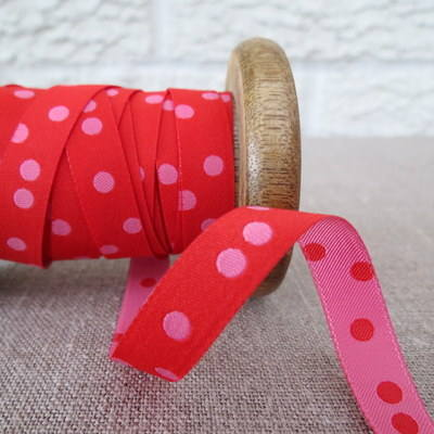 Farbenmix Woven Ribbon ~ Spots in Pink and Red