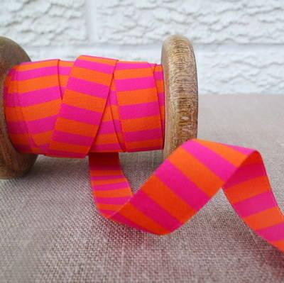 Farbenmix Woven Ribbon ~  Stripes in Fuchsia and Orange