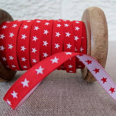 Farbenmix Woven Ribbon ~ Stars in Red and White