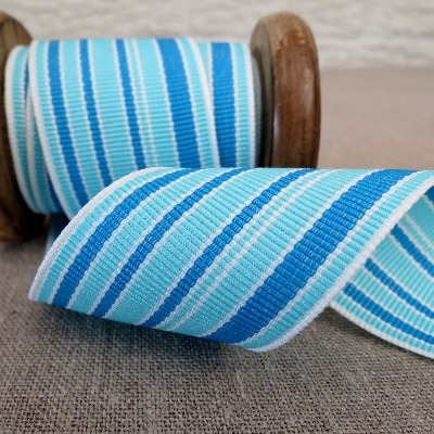 May Arts Ribbon ~ Wide Deckchair Stripe Ribbon ~ Blue, Turquoise and White
