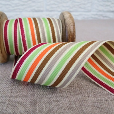 May Arts Ribbon ~ Wide Deckchair Stripe Ribbon ~ Green, Brown and Orange