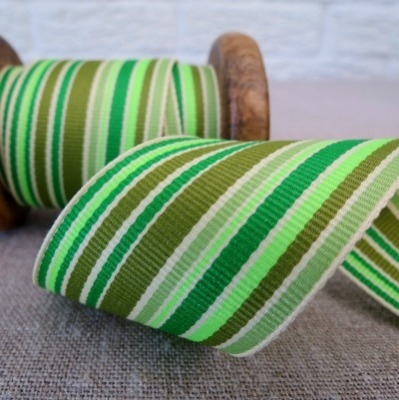 May Arts Ribbon ~ Wide Deckchair Stripe Ribbon ~ Green, Olive and Apple