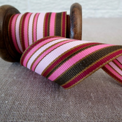 May Arts Ribbon ~ Wide Deckchair Stripe Ribbon ~ Pink and Brown